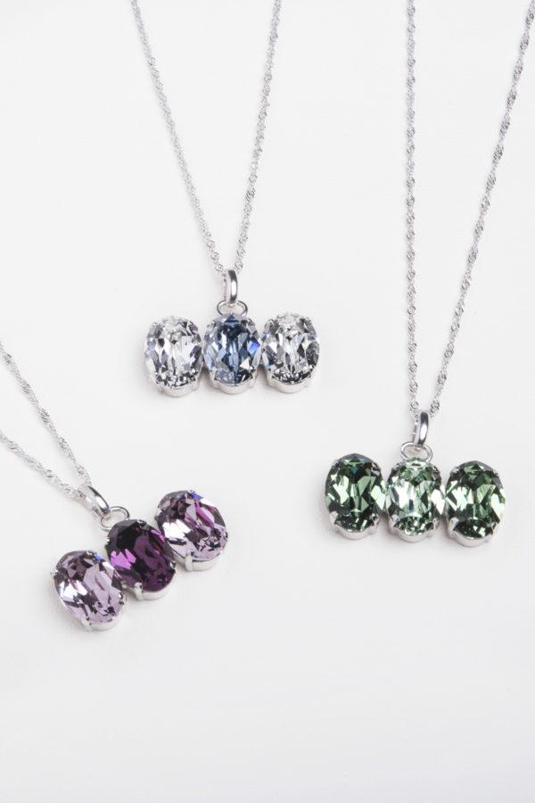 collar swarovski tres piedras colores