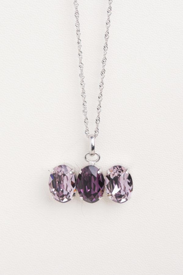 collar swarovski tres piedras lila