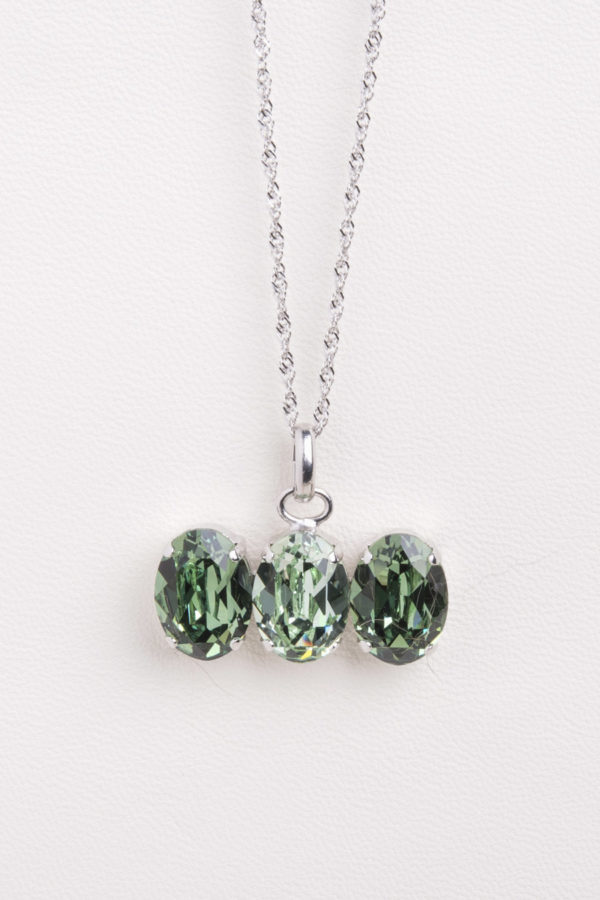collar swarovski tres piedras verde