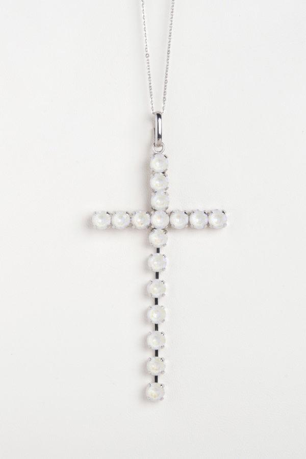 collar swarovski brillantes cruz blanco
