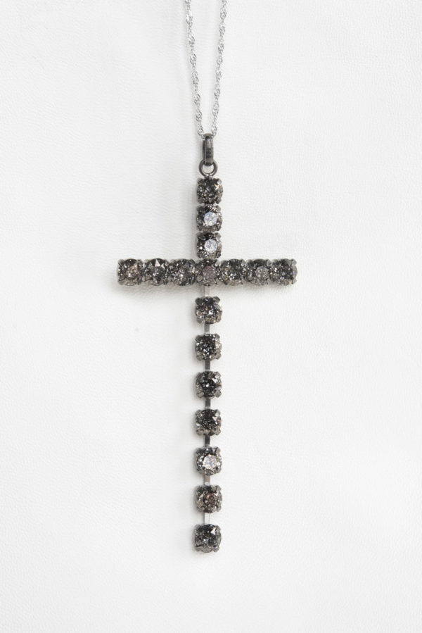collar swarovski brillantes cruz negro