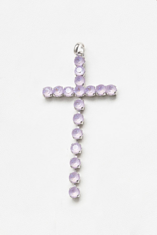 collar swarovski brillantes cruz rosa