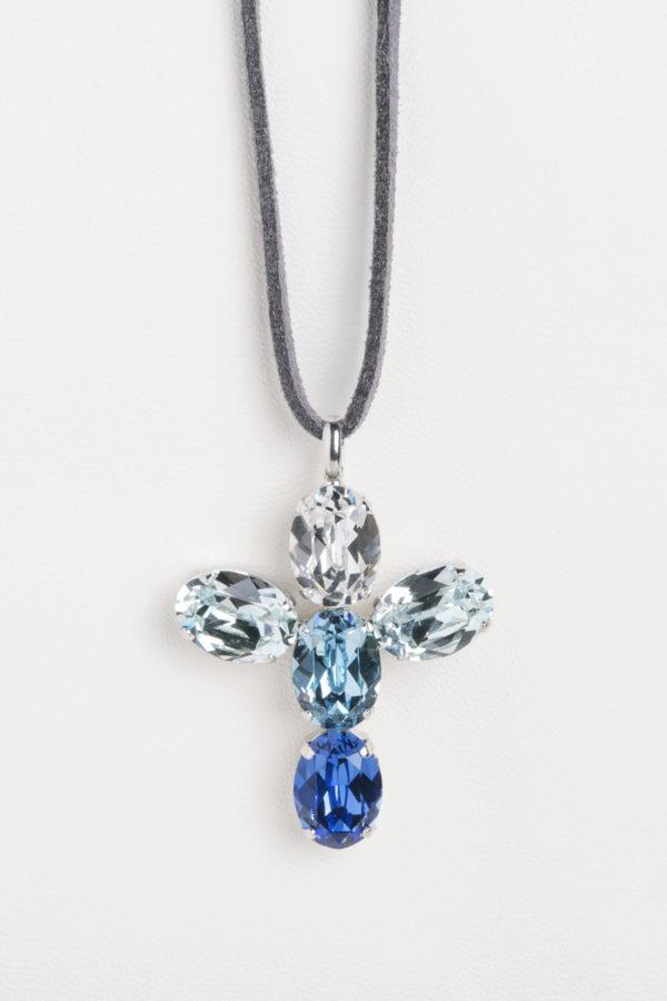 collar swarovski ovalos azul