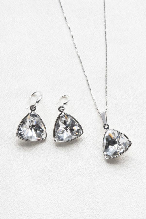 conjunto swarovski collar y pendientes triangulo special