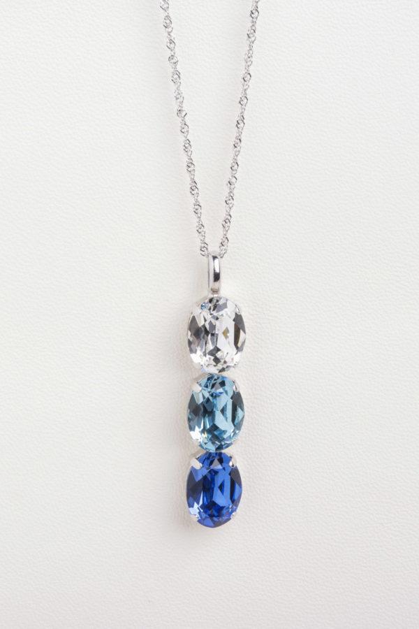 collar swarovski tres ovalos azul