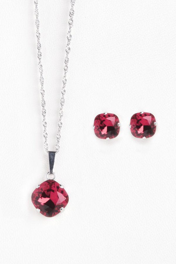 conjunto swarovski collar y pendientes redondo rojo